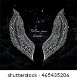detailed hand drawn the wings... | Shutterstock .eps vector #465435206