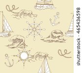 nautical seamless pattern with... | Shutterstock .eps vector #465436598