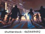 man running away from zombies... | Shutterstock . vector #465449492