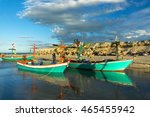 colorful fishing boat with blue ... | Shutterstock . vector #465455942