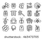 beekeeping and honey line icons ... | Shutterstock .eps vector #465473705