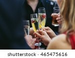 guests clang champagne flutes... | Shutterstock . vector #465475616