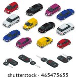 car and car keys icons. flat 3d ... | Shutterstock . vector #465475655