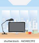 office table desk with desktop  ... | Shutterstock .eps vector #465481592