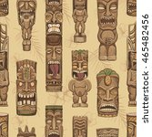 collection of wooden tiki idols.... | Shutterstock .eps vector #465482456