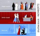 horizontal happy couples people ... | Shutterstock .eps vector #465482972