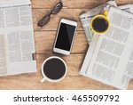 cup of coffee with newspaper in ... | Shutterstock . vector #465509792