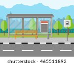 empty bus stop with bench and... | Shutterstock .eps vector #465511892