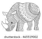 rhinoceros. black white hand... | Shutterstock .eps vector #465519002