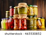 jars with variety of pickled... | Shutterstock . vector #465530852