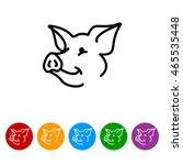 web line icon. pig  livestock | Shutterstock .eps vector #465535448