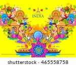 illustration of india... | Shutterstock .eps vector #465558758