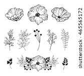 set of hand drawn flowers and... | Shutterstock .eps vector #465565172