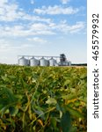 four silver silos in a wheat... | Shutterstock . vector #465579932