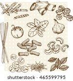 vector hand drawn ink pasta set ... | Shutterstock .eps vector #465599795