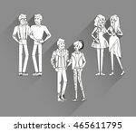 flat line bright set of modern... | Shutterstock .eps vector #465611795