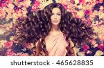 brunette  girl with long  and   ... | Shutterstock . vector #465628835