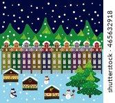 winter city flat landscape.... | Shutterstock .eps vector #465632918