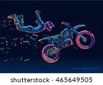 acrobatic motorcycles jump show.... | Shutterstock .eps vector #465649505