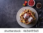 plate of belgian waffles with... | Shutterstock . vector #465649565