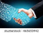 businessman shaking digital... | Shutterstock . vector #465653942