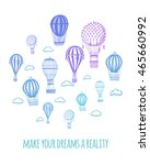 vector set air balloon blue... | Shutterstock .eps vector #465660992