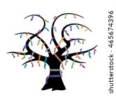 wish tree and colorful ribbons... | Shutterstock .eps vector #465674396
