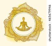 vector silhouette of yoga lotus ... | Shutterstock .eps vector #465679946