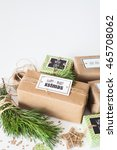 gifts wrapped in brown craft... | Shutterstock . vector #465708062