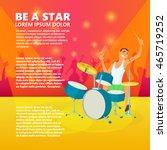 drummer playing drums. teenage... | Shutterstock .eps vector #465719252