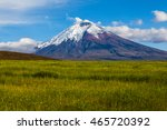 barley cultivated fields and... | Shutterstock . vector #465720392