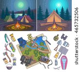 camping infographic set with... | Shutterstock .eps vector #465732506
