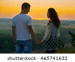romantic couple looking into... | Shutterstock . vector #465741632