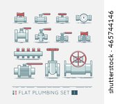 flat plumbing icon set | Shutterstock .eps vector #465744146