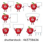 set of cartoon red pepper... | Shutterstock .eps vector #465758636