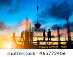 Small photo of Silhouette People heavy industrial sector construction worker to comply with the planning engineers on the scaffolding over blurred background pastel.