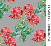 seamless pattern red rose... | Shutterstock . vector #465809765
