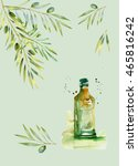 design set with olive branches... | Shutterstock . vector #465816242