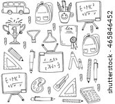 many element school doodles... | Shutterstock .eps vector #465846452