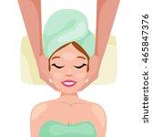 beautiful woman receiving... | Shutterstock .eps vector #465847376