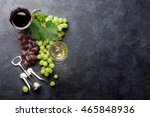 red and white wine glasses and... | Shutterstock . vector #465848936