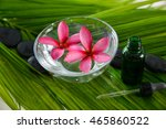 pink frangipani in bowl with... | Shutterstock . vector #465860522