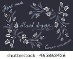 hand drawn floral calligraphic... | Shutterstock . vector #465863426