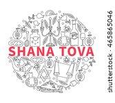 festive background jewish new... | Shutterstock .eps vector #465865046