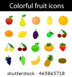 fruit icons colorful vector set ... | Shutterstock .eps vector #465865718