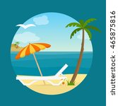 lounge on the beach under a... | Shutterstock .eps vector #465875816