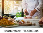 hand holds bowl with spice. raw ... | Shutterstock . vector #465883205
