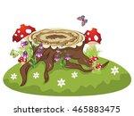 Old Tree Stump With Mushrooms...