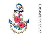 hibiscus flowers. pattern... | Shutterstock . vector #465886712