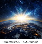 earth and galaxy. elements of... | Shutterstock . vector #465893432